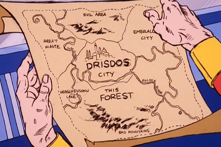 Masters of the Universe cartoon - Map of the Drisdos City area