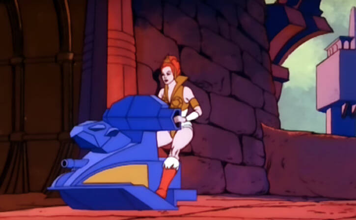 Masters of the Universe - 1980s cartoon - Teela on a sky sled