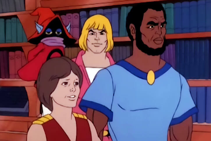 Masters of the Universe - 1980s cartoon - Melaktha and Stanlin with Adam and Orko