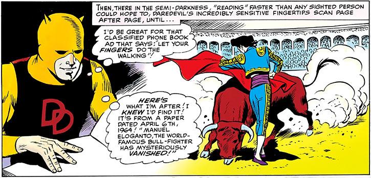 Matador (Daredevil enemy) (Marvel Comics) bullfighting flashback