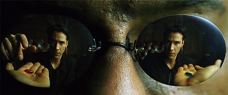 Neo reflected in Morpheus' glasses, takes the pill