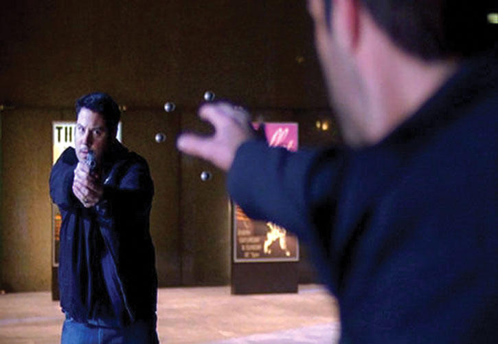 Matt Parkman (Greg Grunberg)'s gunfire is frozen by Sylar