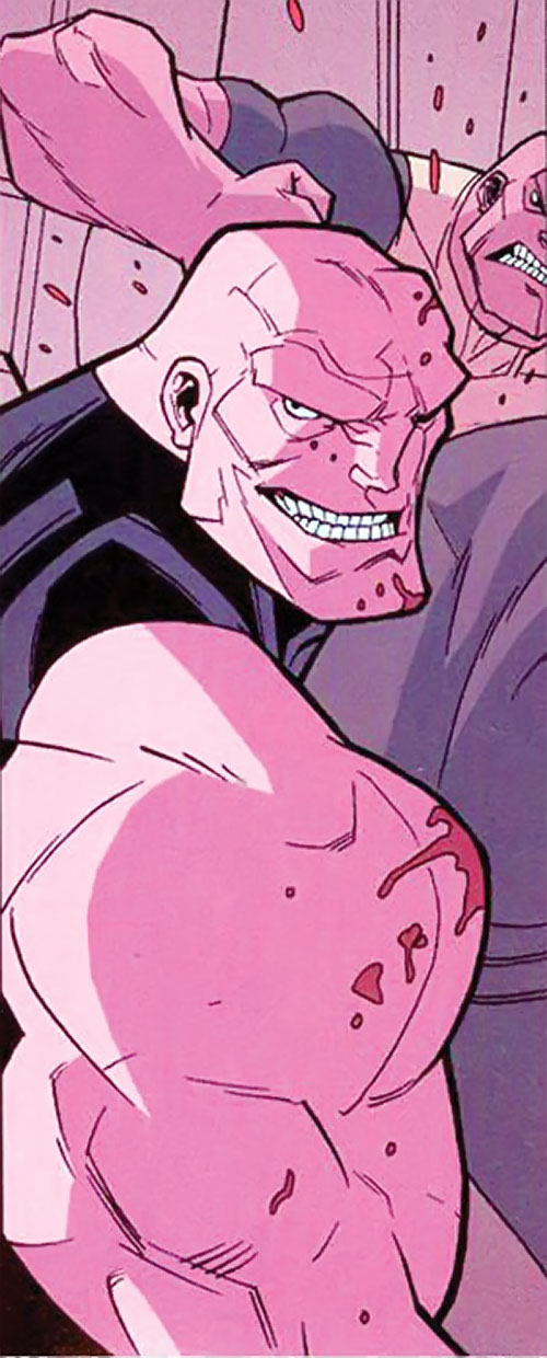 Mauler Twins (Invincible enemy) (Image Comics) in red lighting
