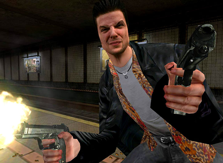 Max Payne dual-wielding pistols in a subway station