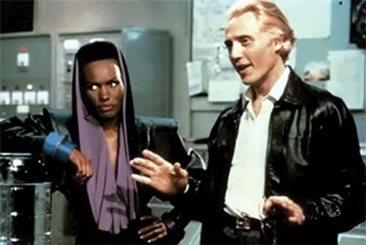 Max Zorin (Christopher Walken) and Mayday (Grace Jones)