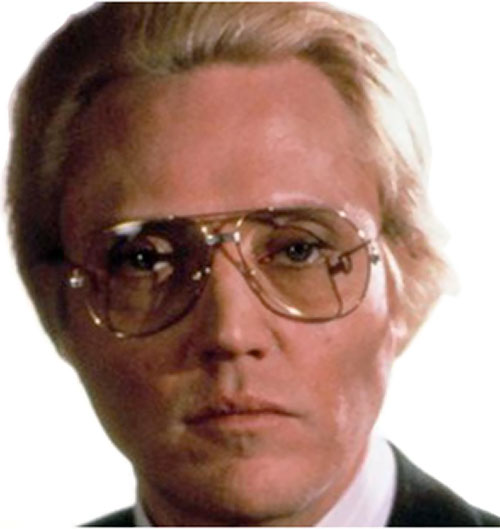 Max Zorin (Christopher Walken in James Bond A View To A Kill) face closeup with glasses