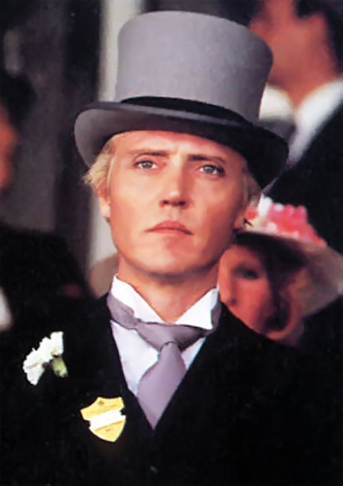Max Zorin (Christopher Walken in James Bond A View To A Kill) with a gray top hat