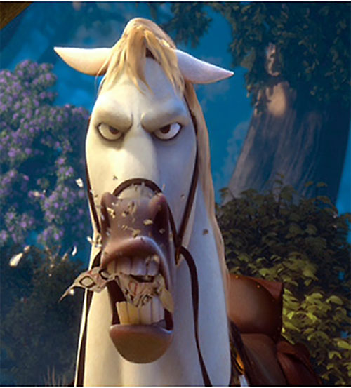 Maximus the horse (Disney's Tangled movie) chomping something to bits