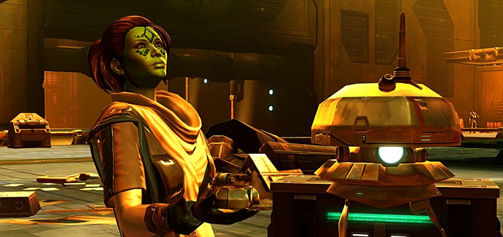 Meeyelle Jedi Consular - Star Wars Old Republic MMO - Looking up in golden light