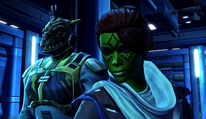 Meeyelle Jedi Consular - Star Wars Old Republic MMO - With Qyzen Fess in blue light