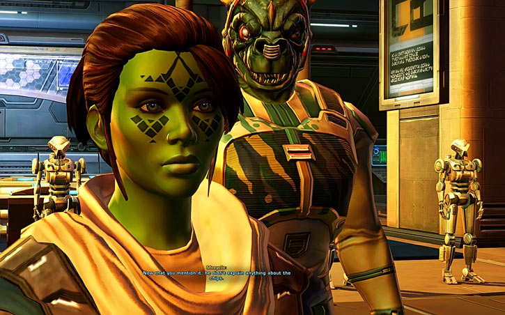 Meeyelle Jedi Consular - Star Wars Old Republic MMO - Qyzen Fess and droids
