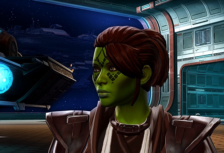 Meeyelle Jedi Consular - Star Wars Old Republic MMO - Face closeup side hangar
