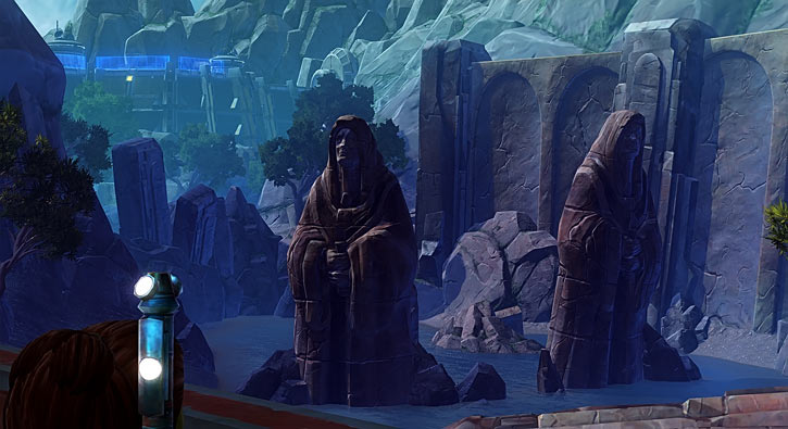 Tython Jedaii statues and Jedi base