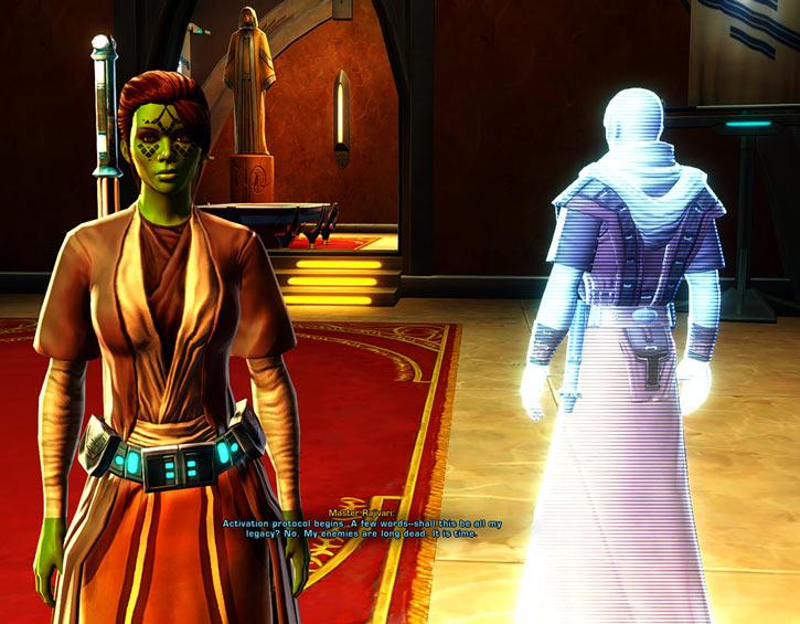 Meeyelle Jedi Consular - Star Wars Old Republic MMO - Master Rajivari hologram