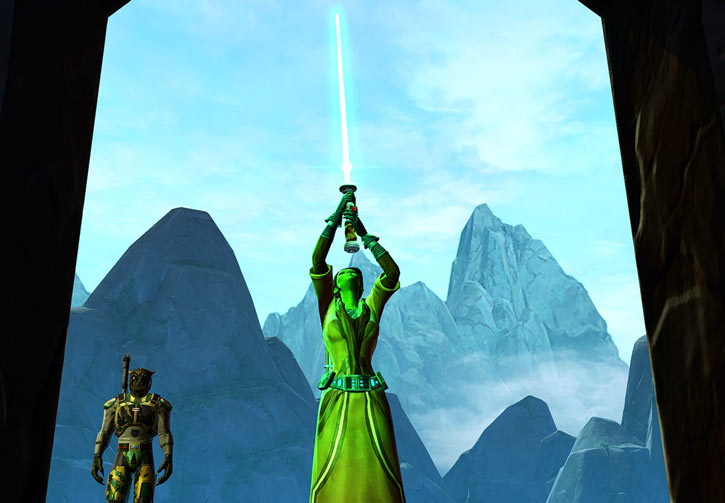 Meeyelle Jedi Consular - Star Wars Old Republic MMO - Iconic lightsaber brandishing pose