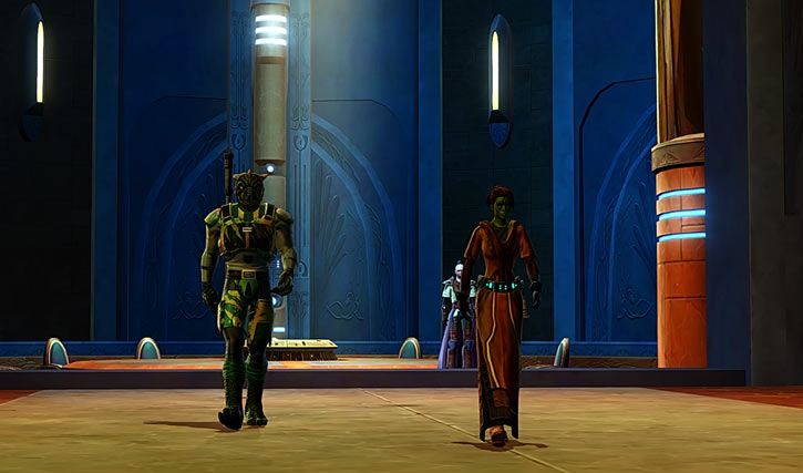 Meeyelle Jedi Consular - Star Wars Old Republic MMO - Power walking away with Qyzen Fess