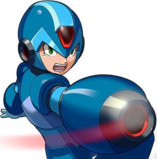 Mega Man (Rockman) aims his gun arm