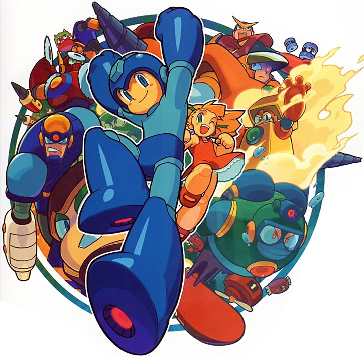 Mega Man aka Rockman and other characters from the game