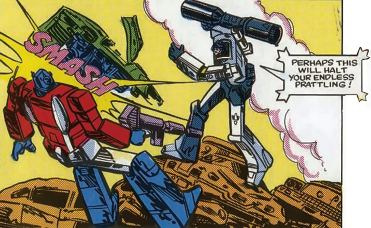 Megatron (Transformers) (Marvel Comics 1980s version) slams Optimus Prime with a car wreck