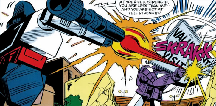 Megatron (Transformers) (Marvel Comics 1980s version) shooting at Shockwave