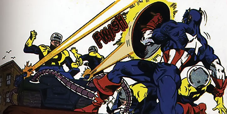Mentallo as Think-Tank of the Resistants, shooting at Captain America