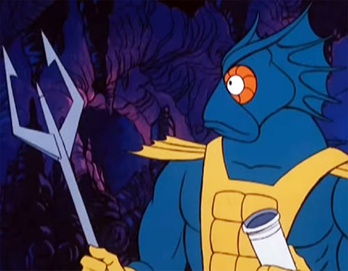Mer-Man - He Man Masters Universe cartoon - Trident and closeup