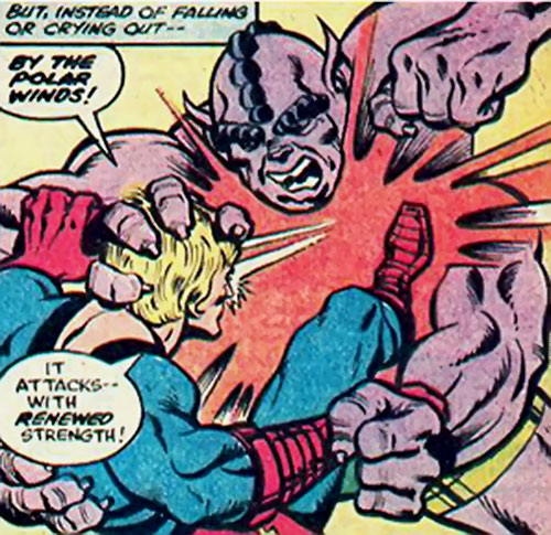 Metabo of the Deviants attacks Ikaris (Marvel Comics)