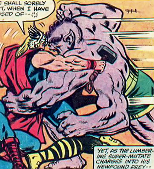 Metabo of the Deviants wrestles with Thor (Marvel Comics)