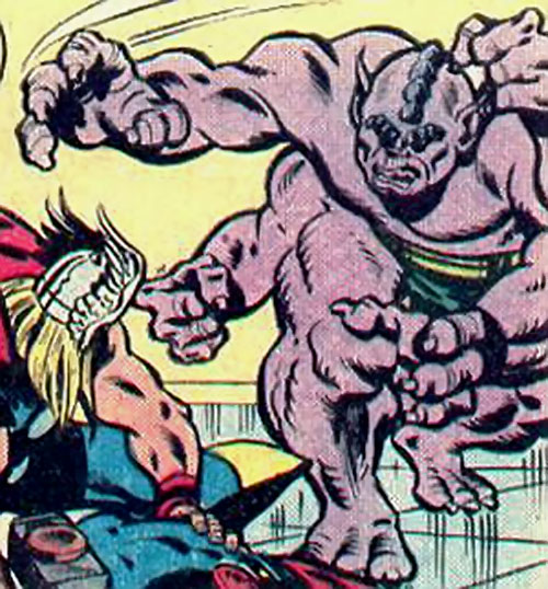 Metabo of the Deviants charges Thor (Marvel Comics)