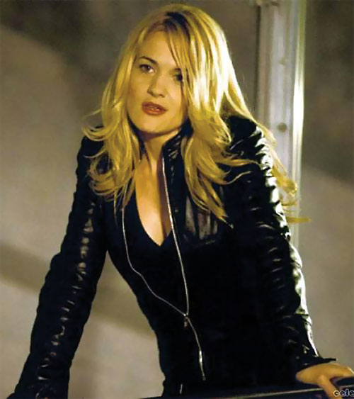 Victoria Pratt with black leather jacket