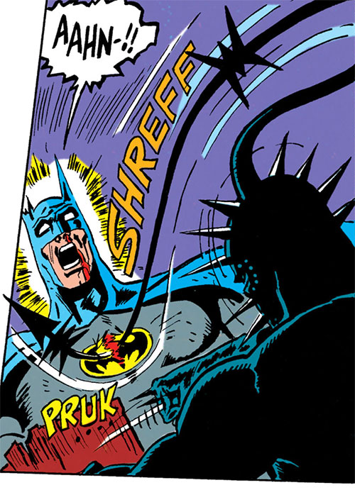 Metalhead (DC Comics) using his head lash against Batman