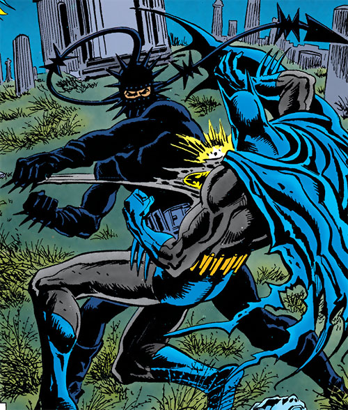 Metalhead (DC Comics) vs. Batman in a graveyard