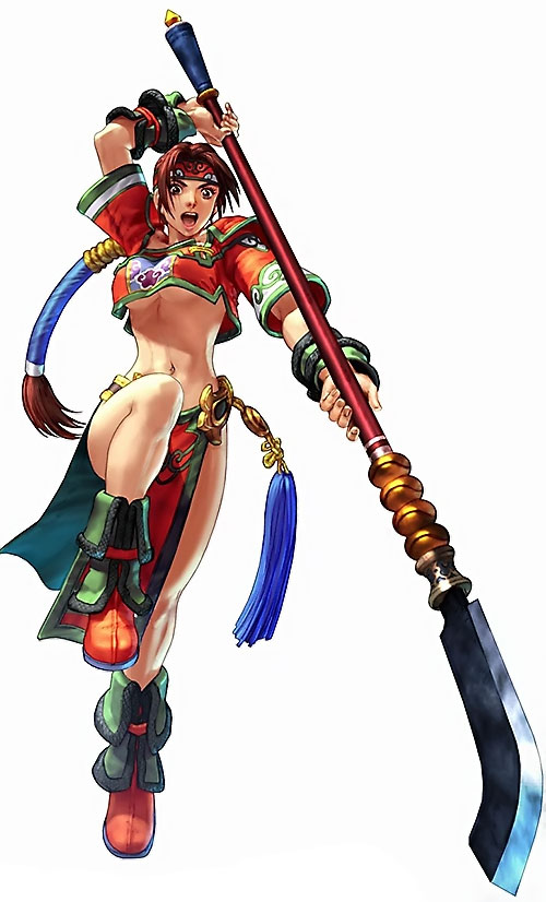 Mi-Na Seong (Soul Calibur) in red and green, attacking