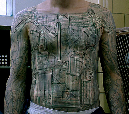 Michael Scofield (Wentworth Miller in Prison Break)'s body map