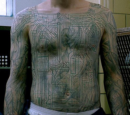 Michael Scofield (Wentworth Miller in Prison Break)'s body map