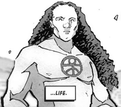 Wasteland comic - long(haired man with human glyph on his chest