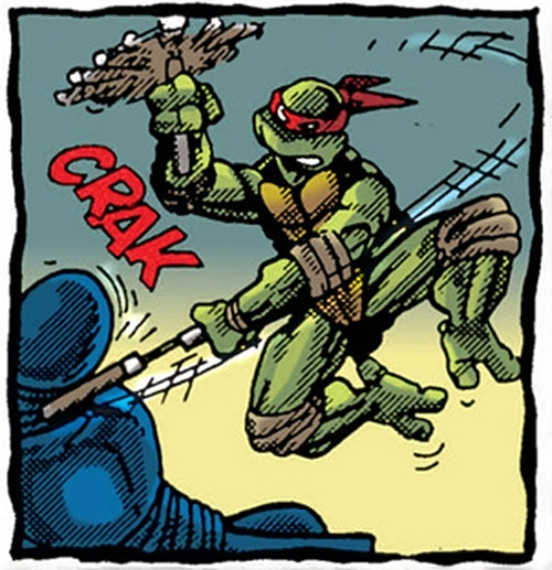 Michealangelo of the Teenage Mutant Ninja Turtles (TMNT comics) hitting a ninja with his nunchaku