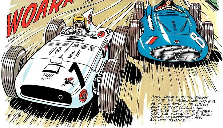 Michel Vaillant (BD Comics) (Early) Steve Warson driving a Novi Special