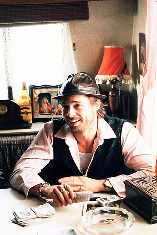Mickey O'Neil (Brad Pitt in Snatch) in his caravan