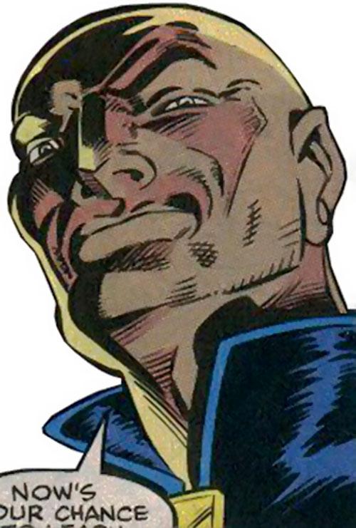 Midnight's Fire (New Warriors enemy) (Marvel Comics) face closeup