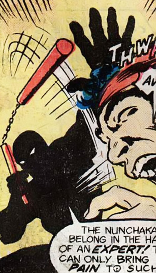 Midnight (M'Nai) (Master of Kung Fu Shang Chi enemy) (Marvel Comics) with a nunchaku