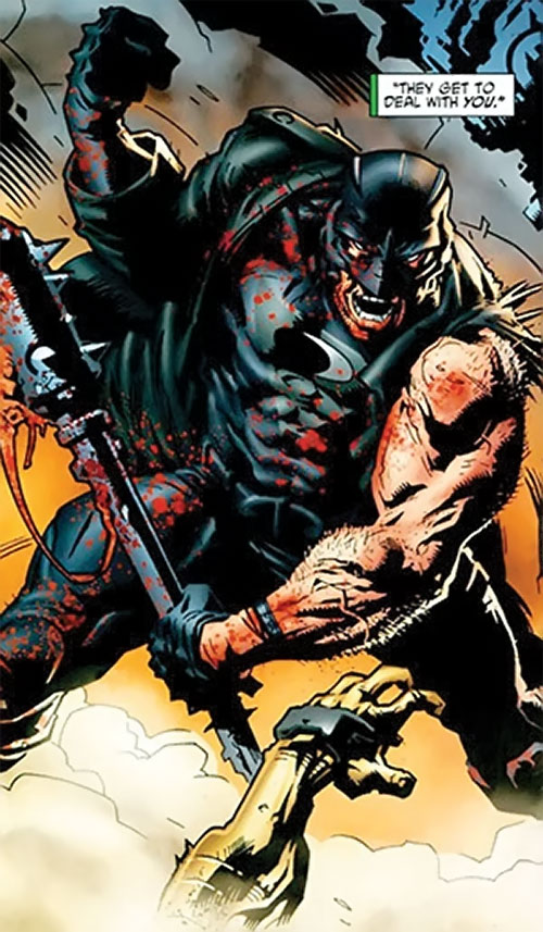 Midnighter of the Authority (Wildstorm Comics) fighting with a mace