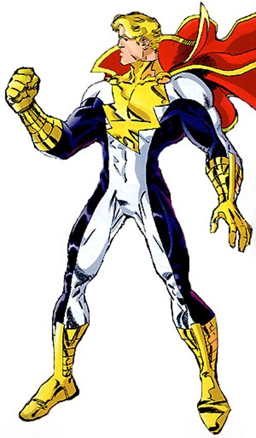Mighty Man (Savage Dragon comics) with fist raised