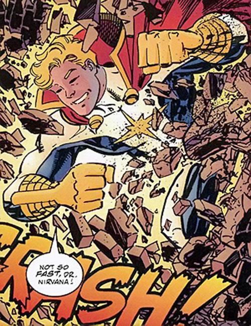 Mighty Man (Savage Dragon comics) bursts through a wall