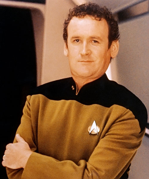 Miles O'Brien (Colm Meaney in Star Trek) in an ochre uniform