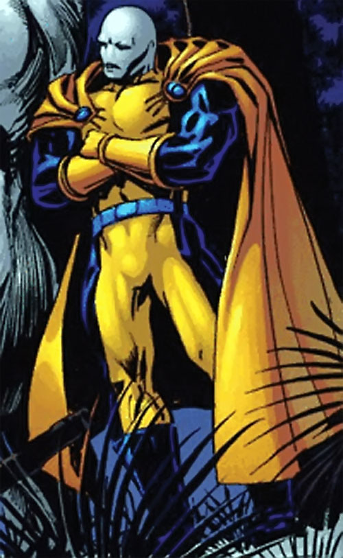 Morph of the Exiles (Marvel Comics) with his arms crossed, leaning against a rock