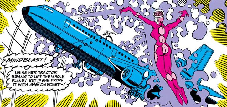 Mindblast lifting a jet liner plane using telekinesis