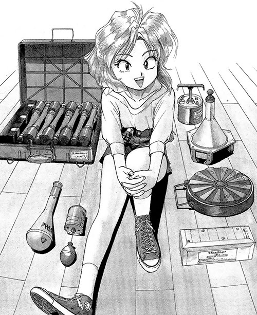 Minnie May Hopkins (Gunsmith Cats manga) with lots of explosives