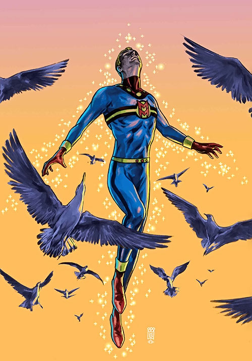 Miracleman flies among birds