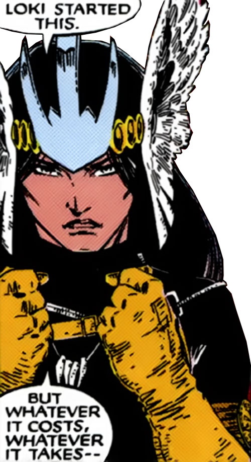 Mirage (Danielle Moonstar of the New Mutants) (Marvel Comics) as a Valkyrie - face closeup with winged helmet